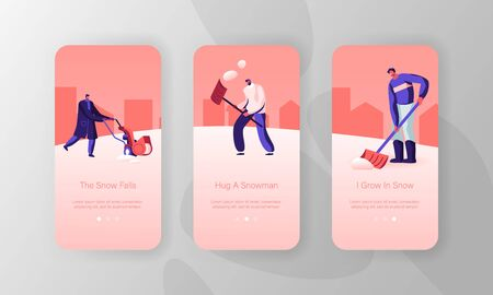 Winter Time Season Activity Mobile App Page Onboard Screen Set. Happy Friends or Neighbours Cleaning Ground from Snow with Shovels Concept for Website or Web Page, Cartoon Flat Vector Illustration