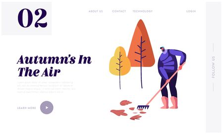 Autumn Season Website Landing Page. Happy Man in Warm Clothing Raking Fallen Colorful Leaves in Garden or Public City Park. Janitor Cleaning Street Web Page Banner. Cartoon Flat Vector Illustration