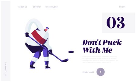 Sportsman in Hockey Game Motion Website Landing Page. Professional Player Hitting Puck with Stick on Ice Rink. Winter Sport League Tournament, Training Web Page Banner Cartoon Flat Vector Illustration  イラスト・ベクター素材
