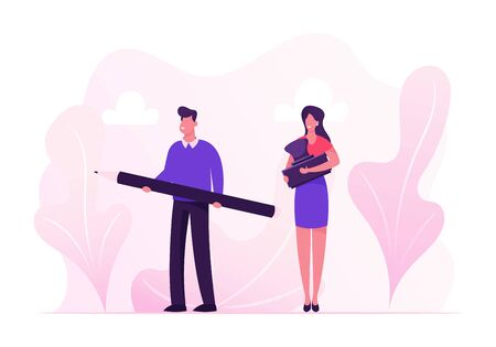 Contract Signing Concept. Business People Man and Woman Holding Pen and Seal Stamp for Finance or Law Document Approval. Bureaucratic Officials with Working Attributes Cartoon Flat Vector Illustration 向量圖像