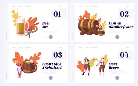 Oktoberfest Beer Festival Scenes Website Landing Page Set with People in Bavarian Traditional Costumes Drinking Beer, Eating Pretzels and Having Fun Web Page Banner. Cartoon Flat Vector Illustration