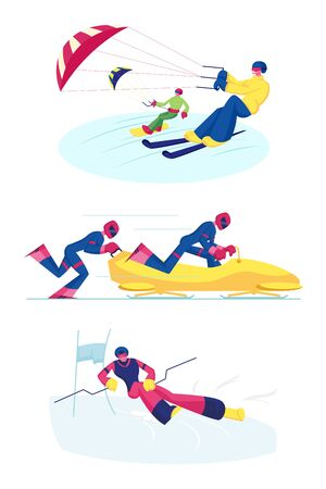 Set of Snowkiting, Bobsleigh and Ski Slalom Kinds of Sport. Sportsmen Riding Skis and Snowboard with Kite. Competitors on Bob, Man Skier Going Downhills. Cartoon Flat Vector Illustration, Clip Art Standard-Bild - 133187790