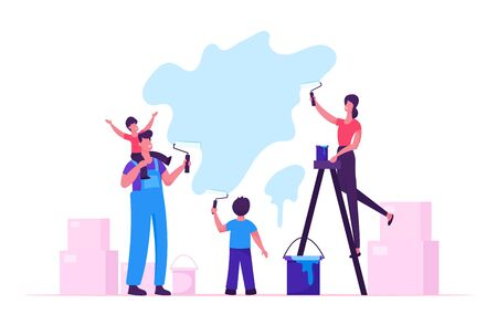 Happy Family with Kids Painting Wall with Rollers Making Renovation at Home. Parents and Children Spend Time Together in Activity Spare Time, Moving in New House. Cartoon Flat Vector Illustration
