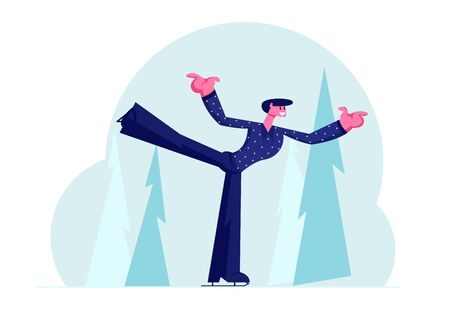 Professional Sportsman in Festive Suit Perform Figure Skating Program on Ice Rink. Man Dancing with Leg Up on Ice Outdoors Arena Training or Take Part in Tournament. Cartoon Flat Vector Illustration