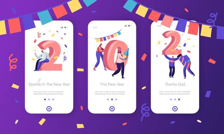 New Year 2020 Concept for Mobile App Page Onboard Screen Set. Happy People Celebrate Hold Huge Numerals, Confetti and Sparklers Drinking Champagne Website or Web Page, Cartoon Flat Vector Illustration