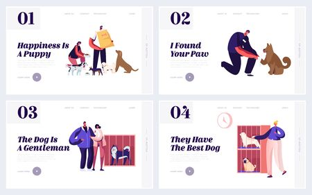 Adoption Center for Stray and Homeless Pets Website Landing Page Set. Selfless Volunteers Help to Animals in Shelter and Street, Veterinary Aid Feed Web Page Banner. Cartoon Flat Vector Illustration