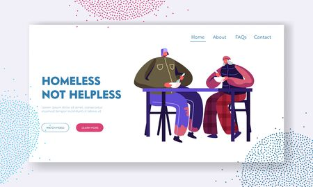 Social Support to Homeless People in Troubles and Volunteering Website Landing Page. Man and Woman Beggars Sitting at Table Eating Warm Food Donation Web Page Banner. Cartoon Flat Vector Illustration