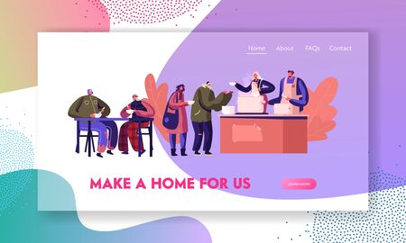 Poor Men Women Stand in Queue Get Warm Food Website Landing Page. Night Shelter for Homeless, Temporary Residence for Bums and Beggars without Home Web Page Banner. Cartoon Flat Vector Illustration Illustration