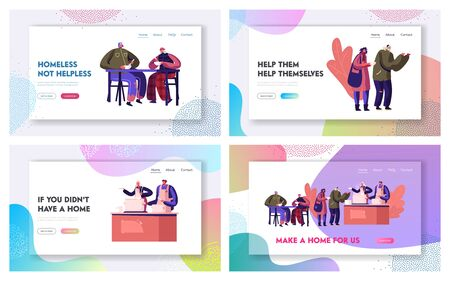 Charity and Support Homeless People, Emergency Housing Website Landing Page Set. Volunteering and Donation to Beggars, Volunteers Feeding Poor Bums Web Page Banner. Cartoon Flat Vector Illustration  イラスト・ベクター素材