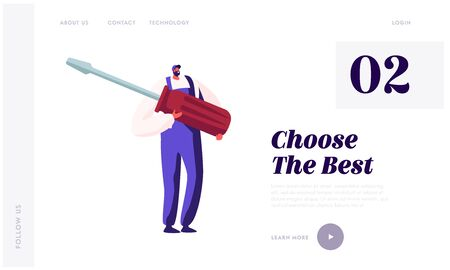 Husband for Hour Call Service Website Landing Page. Tiny Male Character Holding Huge Screwdriver Instrument for Fixing Broken Technics or Home Repair Web Page Banner. Cartoon Flat Vector Illustration Banco de Imagens - 133528883