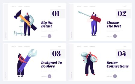 People with Diy Tools for Home or Technics Repair Website Landing Page Set. Architect Building Company Employees, Carpenters or Plumbers Service Web Page Banner. Cartoon Flat Vector Illustration