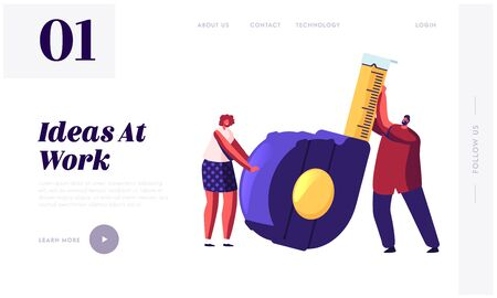 Home Renovation Diy Tool and Repair Service Website Landing Page. Tiny Man and Woman Holding Huge Measuring Tape for Engineering Construction Works Web Page Banner. Cartoon Flat Vector Illustration Illustration