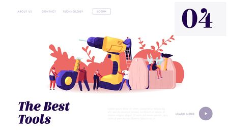 Home Repair and Renovation Website Landing Page. Tiny Male and Female Characters Hold Huge Tools for Construction Works Drill Hammer Wrench Scale Tape Web Page Banner. Cartoon Flat Vector Illustration