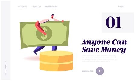 Money Savings and Investment Website Landing Page. Young Smiling Man Carry Huge Paper Currency Bill. Financial Success, Wealth and Budget Planning Web Page Banner. Cartoon Flat Vector Illustration Stock Vector - 133528889