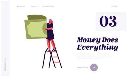 Money Revenue and Investment Website Landing Page. Tiny Woman Stand on Ladder Holding Huge Dollar Banknote in Hands. Business Fortune, Lottery Win Web Page Banner. Cartoon Flat Vector Illustration
