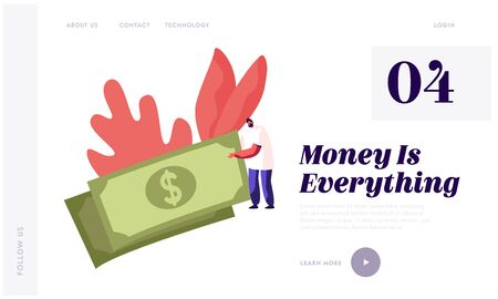 Salary and Money Profit Website Landing Page. Tiny Male Character Holding Huge Dollar Banknote in Hands. Business Man Make Investment, Budget Planning Web Page Banner. Cartoon Flat Vector Illustration
