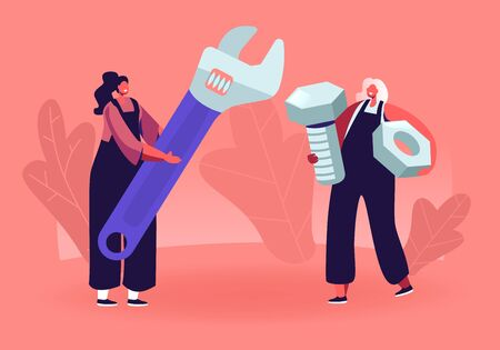 Female Characters with Tools. Tiny Girls in Overalls Holding Huge Wrench Screw and Nut. Handyman Women Fixing Broken Technics at Home, Repair Service Call Masters. Cartoon Flat Vector Illustration