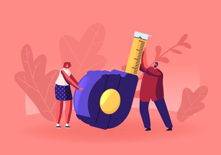 Home Renovation Diy Tool and Repair Service Concept. Man and Woman Holding Huge Measuring Tape for Engineering Construction Works. Architect Building Company Employees Cartoon Flat Vector Illustration