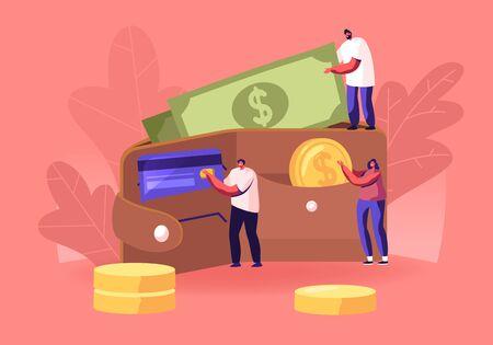 Los empresarios exitosos ponen dinero en una bolsa enorme. Pequeños personajes de hombres y mujeres con enormes monedas de oro y billetes. Concepto de ahorro, efectivo y tarjetas de crédito. Ilustración de Vector plano de dibujos animados