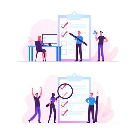 Geschäftsleute stehen an einer riesigen Zwischenablage mit Checklisten-Füllmarkierungen durch Stiftsuchlösung und denken neue Ideen. Planung, Inspiration Kreatives Prozesskonzept Cartoon Flache Vektor Illustration