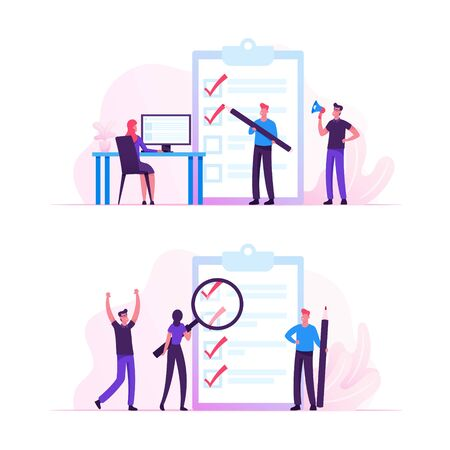 Business People Stand at Huge Clipboard with Check List Filling Marks by Pen Searching Solution and Thinking New Idea. Scheduling, Inspiration Creative Process Concept Cartoon Flat Vector Illustration