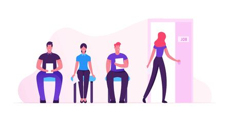 Hr Concept. People Waiting Interview Sitting in Office Hall on Chairs. Applicants with Cv Documents Hiring Work. Worried Candidate Woman Enter Door with Job Signboard. Cartoon Flat Vector Illustration