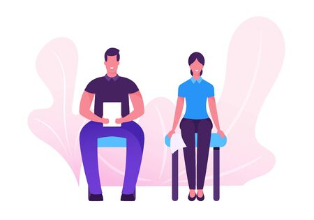 Confident Serious Young Man and Woman with Cv Sitting on Chairs in Waiting Room Setting Mind Up Before Job Interview or Meeting with Potential Business Partners. Cartoon Flat Vector Illustration