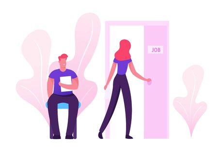 Recruitment, Job Interview Concept. Unemployed People Searching Job. Man with Cv Document in Hand Sitting in Office Hallway Waiting Appointment Woman Applicant Enter Cartoon Flat Vector Illustration