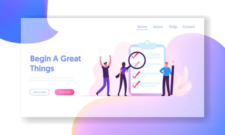 Productive Daily Planning and Task Management Website Landing Page. People Creating and Checking Plan on Huge Check List. Successful Goal Achievement Web Page Banner. Cartoon Flat Vector Illustration