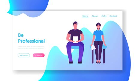 Job Interview Appointment Website Landing Page. Man and Woman with Cv Sitting in Waiting Room Before or Meeting with Potential Business Work Partners Web Page Banner. Cartoon Flat Vector Illustration