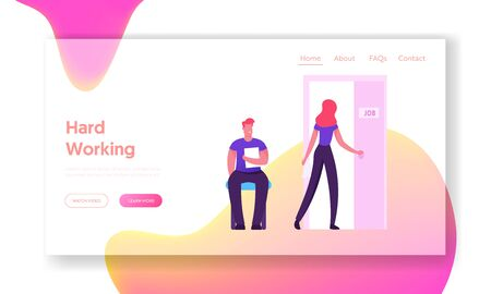 Recruitment, Job Interview Website Landing Page. Unemployed People Searching Job. Applicants with Cv Document Sitting in Office Hallway for Appointment Web Page Banner Cartoon Flat Vector Illustration