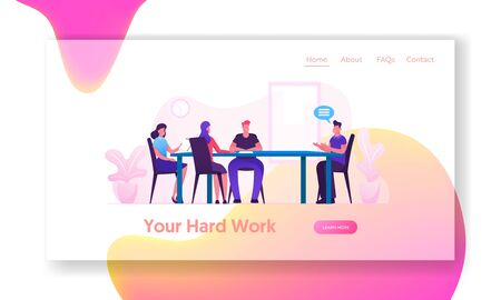 Board Meeting in Office Website Landing Page. Business Director and Employees Planning Start Up Project and Solve Finance Problems. Brainstorming Group Web Page Banner. Cartoon Flat Vector Illustratio