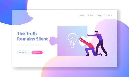 Creative Idea and Startup Project Construction Process Website Landing Page. Business People Pushing Together Huge Puzzle Piece with Light Bulb Sign Web Page Banner. Cartoon Flat Vector Illustration