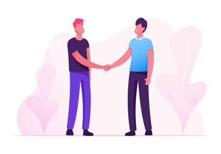 Good Deal Concept. Business Partners Men Handshaking. Businesspeople Meeting for Project Discussion, Shaking Hands Agreement during Negotiation. Corporate Partnership Cartoon Flat Vector Illustration