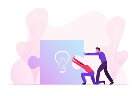 Business People Pushing Together Huge Puzzle Piece with Light Bulb Sign. Businessmen Perfect Teamworking Group Creative Idea and Startup Project Construction Process. Cartoon Flat Vector Illustration Stock Illustratie