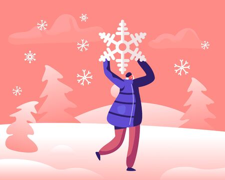 Happy Cheerful Woman Holding Huge Snowflake above Head, Playing on Snowy Landscape Background. Winter Season