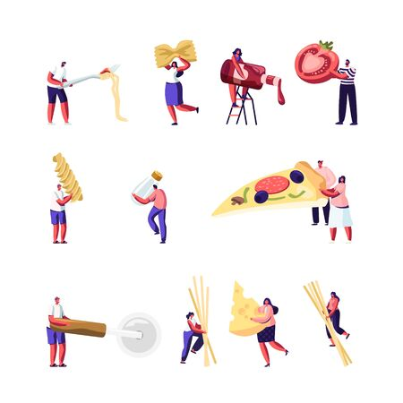 Italian Food Set. Tiny People Eating and Cooking Pizza and Pasta. Male and Female Characters Holding Macaroni, Knife