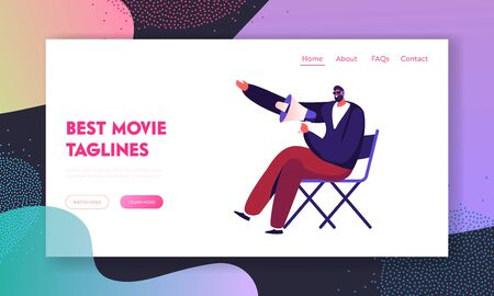 Filmmaking Activity Website Landing Page. Moviemaking Studio Director with Megaphone Sitting on Chair, Entertainment Industry Staff Working Process Web Page Banner. Cartoon Flat Vector Illustration