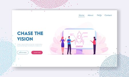 Businesspeople Projecting Business Startup Website Landing Page. Financial Planning Strategy, Management. Team of Creative Colleagues Developing Idea Web Page Banner. Cartoon Flat Vector Illustration Иллюстрация