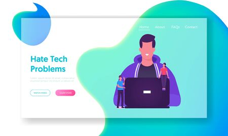 Software Development and Coding Website Landing Page. Coder Programmer Male Character Working on Laptop. Mobile Application and Site Creation Process Web Page Banner. Cartoon Flat Vector Illustration