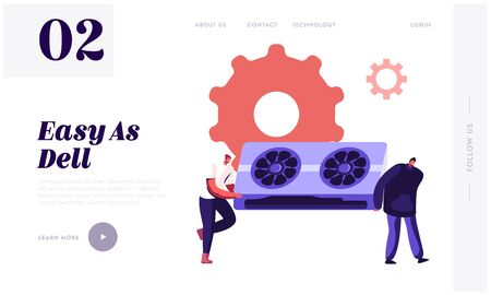 Computer Repair Service Website Landing Page. Pc Support Center Service and Maintenance. Men Carry Huge Detail for Laptop Fixing Problem Customer Care Web Page Banner Cartoon Flat Vector Illustration