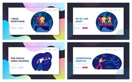 Imaginary Fantasy Superheroes and Virtual Reality Glasses Website Landing Page Set. Characters Using Vr Goggles, Powerful Heroes in Searchlights. Web Page Banner. Cartoon Flat Vector Illustration