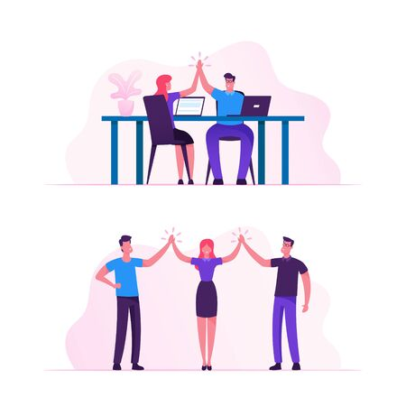 Business Colleagues Giving Highfive in Office Male and Female Businesspeople Characters Rejoice for Good Job they did, Successful Project Deal Victory Goal Achievement Cartoon Flat Vector Illustration  イラスト・ベクター素材