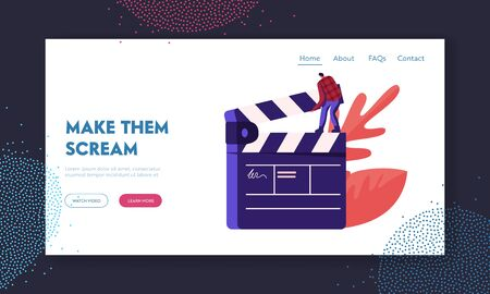 Cinematograph, Movie Making Process Website Landing Page. Man Studio Worker Assistant Stand on Huge Clapperboard. Movie Action and Film Production Web Page Banner. Cartoon Flat Vector Illustration