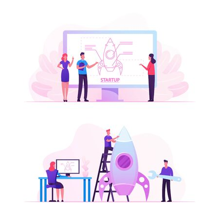 Businesspeople Projecting and Launching Business Project Startup. Financial Idea Planning Strategy, Management, Realization and Success. Creative Team Rocket Launch Cartoon Flat Vector Illustration