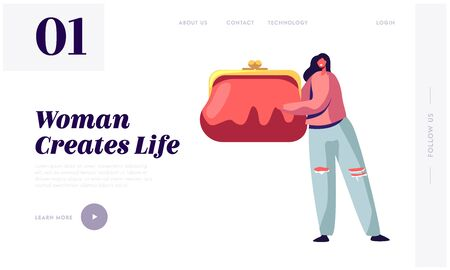 Women Things Website Landing Page. Tiny Female Character Holding Huge Purse with Money. Girls Bag Stuff and Belongings Elegant Modern Ladies Accessory Web Page Banner. Cartoon Flat Vector Illustration