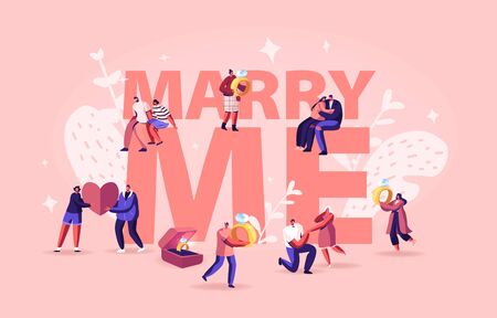 Marry Me Concept. Men Making Romantic Proposal to Women, Giving Engagement Ring Standing on Knee. Love Relationship Marriage and Family Poster Banner Flyer Brochure. Cartoon Flat Vector Illustration