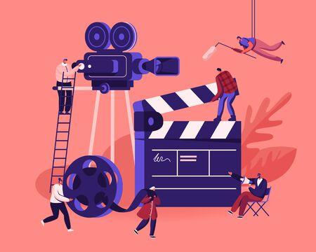 Concepto de proceso de creación de películas. Operador con cámara y personal con equipo profesional Grabación de películas con actores. Director con megáfono, ilustración de Vector plano de dibujos animados de película de carrete de claqueta