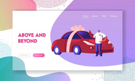 Automobile Purchase Website Landing Page. Man Buyer or Seller Holding Keys in Hand Standing near New Car Wrapped with Bow. Customer or Salesman Deal Web Page Banner. Cartoon Flat Vector Illustration  イラスト・ベクター素材