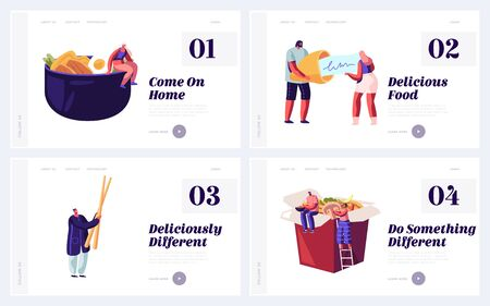 Traditional Asian Food Restaurant Website Landing Page Set. People Eating Chinese Meal, Reading Fortune Message inside of Bake. Visitors in Cafe Web Page Banner. Cartoon Flat Vector Illustration